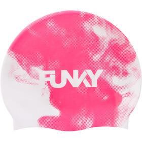 Funky Trunks Silicone Swimming Cap Men, rosa/blanco